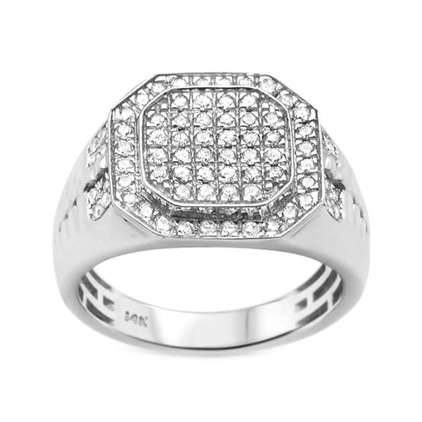 Copy of 0.97ct Round Diamonds in 14K White Gold Octagon Men's Signet Ring