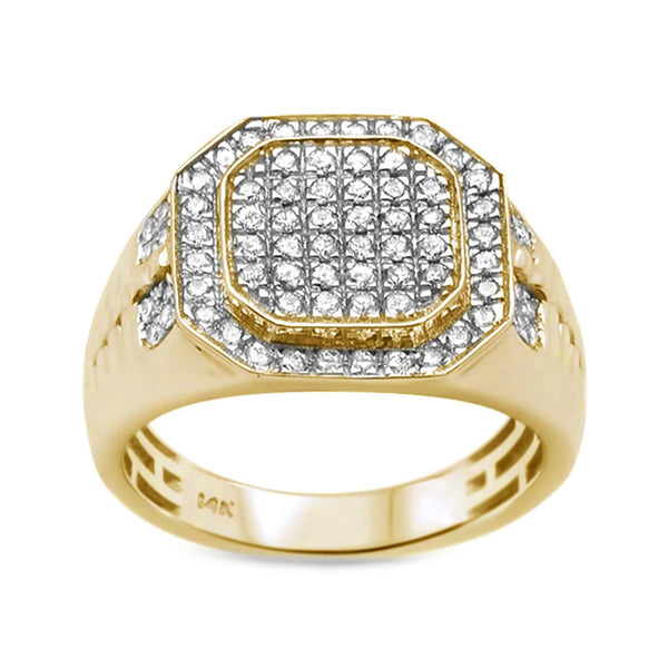 0.97ct Round Diamonds in 14K Yellow Gold Octagon Men's Signet Ring