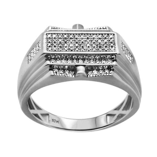 0.28ct Round Diamonds in 10K White Gold Modern Men's Ring
