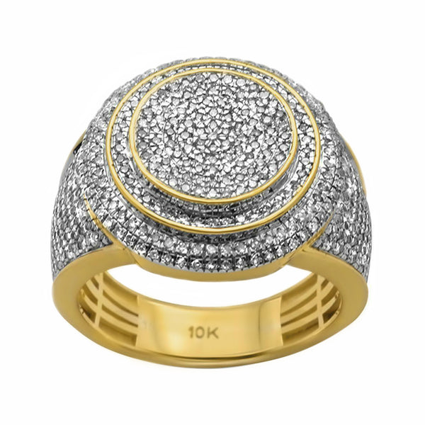 1.05ct Pavé Diamonds in 10K Yellow Gold Round Signet Men's Ring