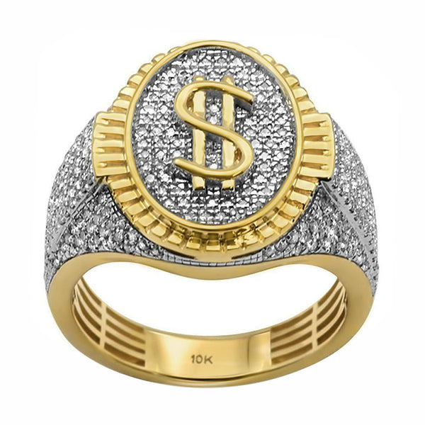 0.87ct Pavé Diamonds in 10K Yellow Gold Dollar Sign Oval Signet Men's Ring