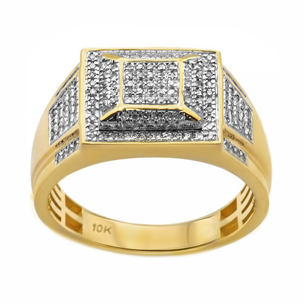 0.36ct Pavé Round Diamonds in 10K Yellow Gold Flat Pyramid Signet Men's Ring