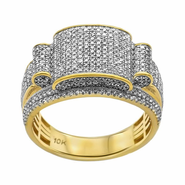 1.13ct Pavé Round Diamonds in 10K Yellow Gold Chunky Men's Ring