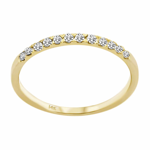 0.18ct Round Diamond in 14K Gold Wedding Stackable Band Ring