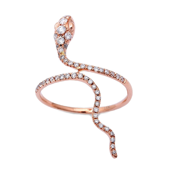 0.34ct Pavé Round Diamonds in 14K Rose Gold Snake Wrap Ring