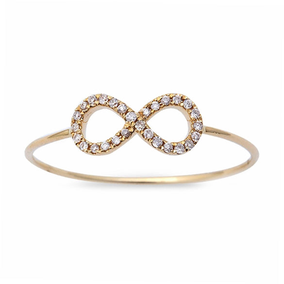 0.06ct Pavé Round Diamonds in 14K Gold Infinity Ring