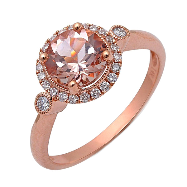 1.39tcw Round Morganite & Diamonds in 14K Rose Gold Halo Engagement Ring