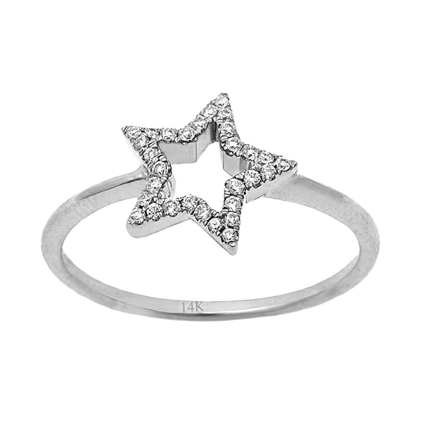 0.11ct Pavé Round Diamonds in 14K Gold Star Statement Ring