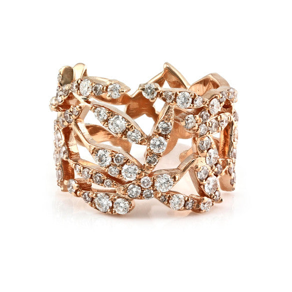 1.00ct Pavé Round Diamonds in 14K Rose Gold Cluster Leaves Ring