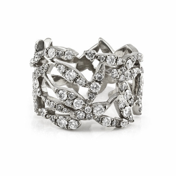 1.00ct Pavé Round Diamonds in 14K White Gold Cluster Leaves Ring