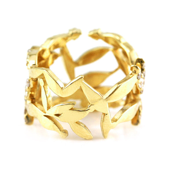 1.00ct Pavé Round Diamonds in 14K Yellow Gold Cluster Leaves Ring