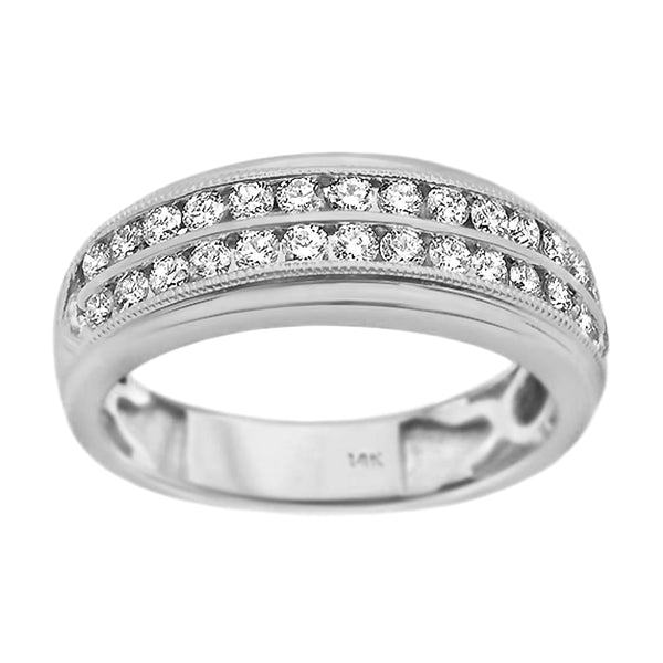 0.98tcw Two Rows Round Diamonds in 14K White Gold Milgrain Men's Wedding Band