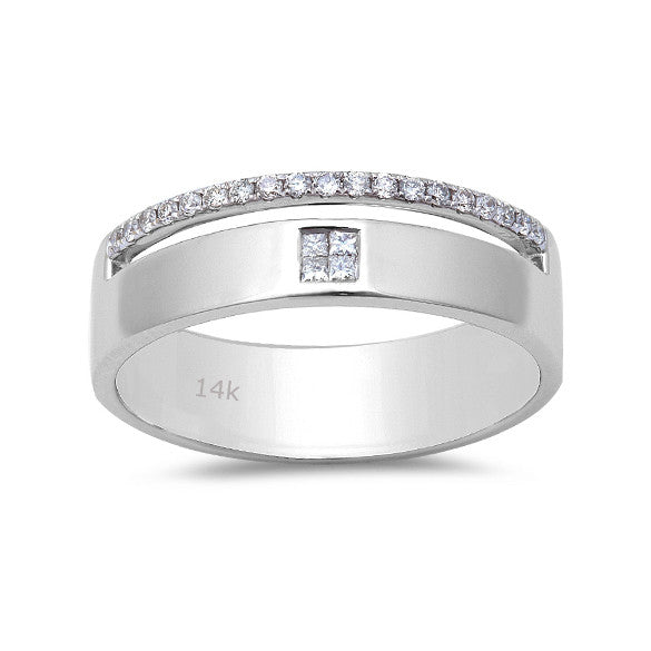 0.21ct Princess & Round Diamonds in 14K White Gold Band Men's Ring