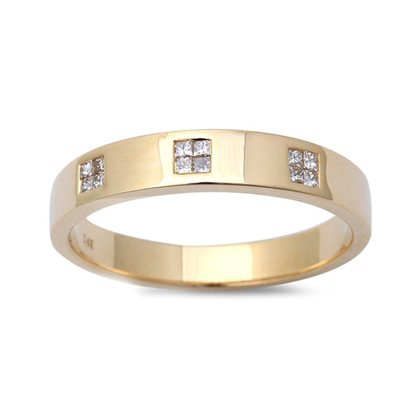 0.16ct Princess Diamonds in 14K Yellow Gold Band Ring