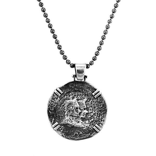 925 Sterling Silver New Moon Werewolf Vintage Medallion Ball Chain Necklace 20""