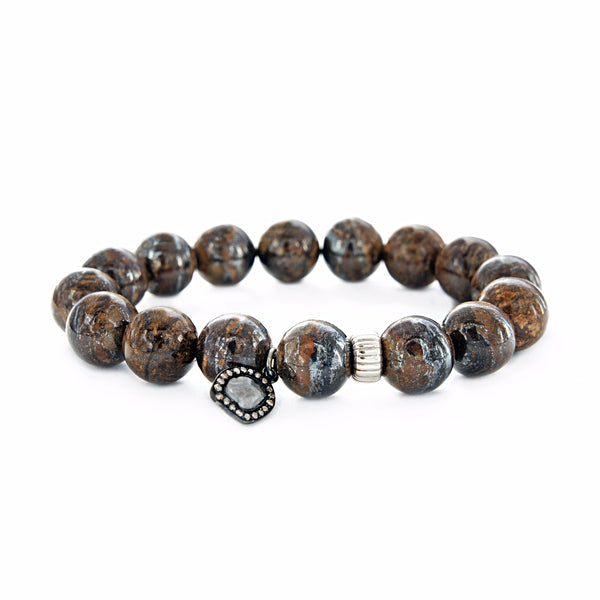 0.69ct Sliced & Pave Diamonds Charm Genuine Bronzite Spiritual Bead Bracelet