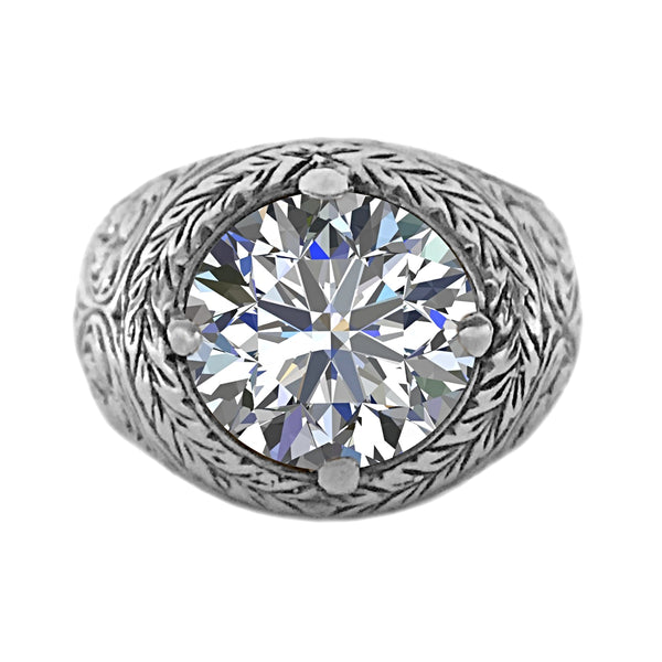 5.00ct Round CZ in 925 Sterling Silver Filigree Men's Ring