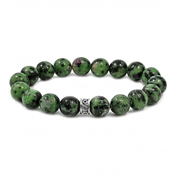 26.00ct Ruby Zoisite 10mm Beads & 925 Sterling Silver Spacer Stretch Bracelet