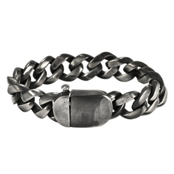 316L Stainless Steel Oxidized Cuban Chain Link Men's Bracelet 8.75""