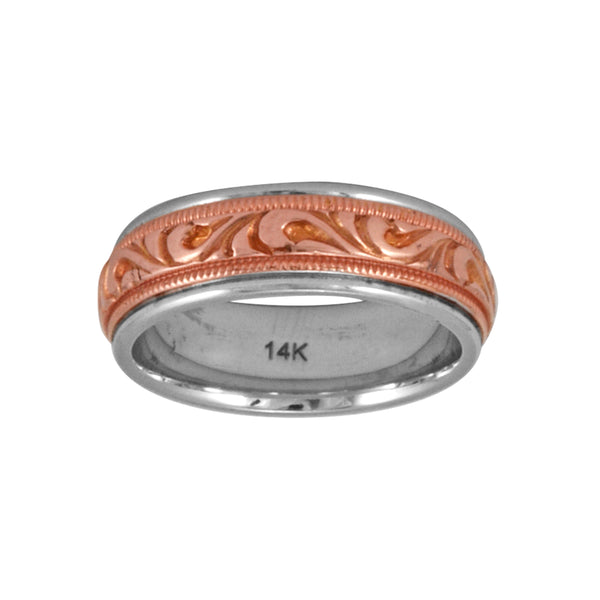 14K Two Tone Gold Filigree Rose Gold Inlay Band Ring