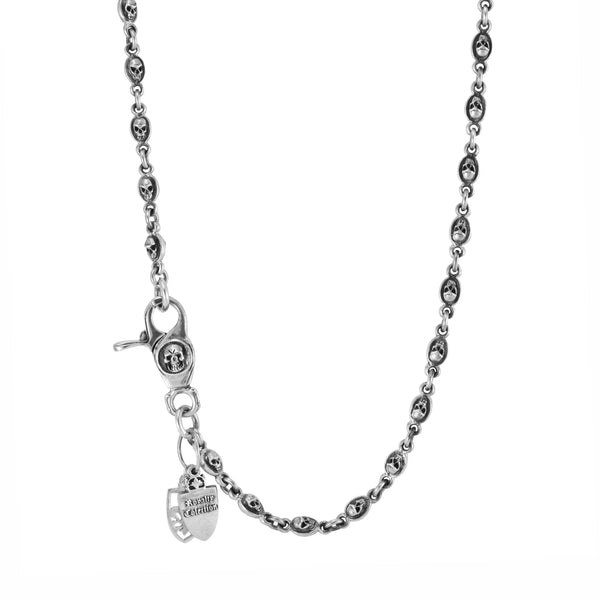 925 Sterling Silver Skull Link Chain Necklace 30""