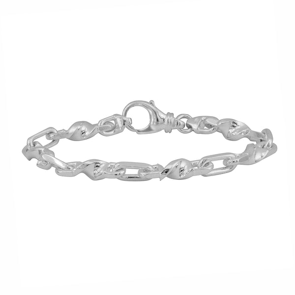 925 ITALY Sterling Silver Twisted Anchor Chain Link Mens Bracelet