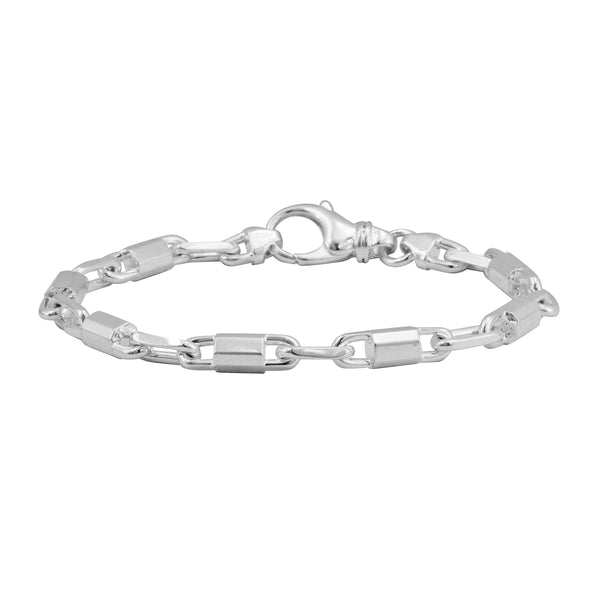 925 ITALY Sterling Silver Anchor Link Chain Men's Bracelet