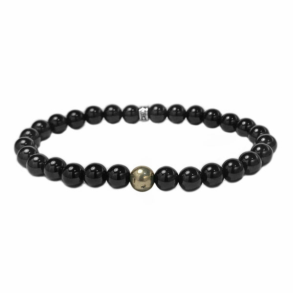 925 Sterling Silver in Onyx with Pyrite Accent Spiritual Beads Bracelet