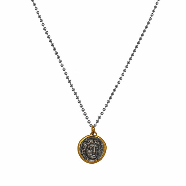 Apollo's Head & Helios Rose in 925 Sterling Silver & 24K Gold Medallion Necklace
