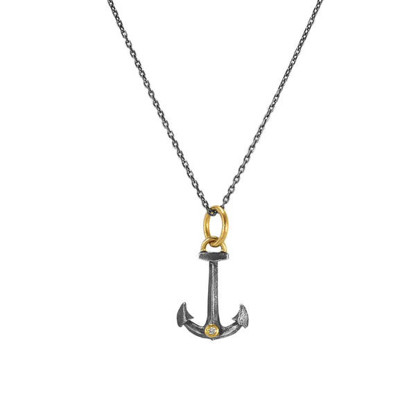 0.01ct Diamond in 925 Silver & 24K Gold Anchor Pendant Necklace