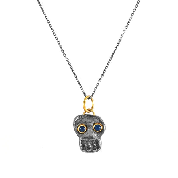 0.08ct Cabochon Sapphires in 925 Silver & 24K Gold Skull Pendant Necklace