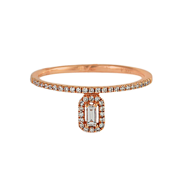 0.21tcw Baguette & Round Diamonds in 14K Gold Drop Halo Ring