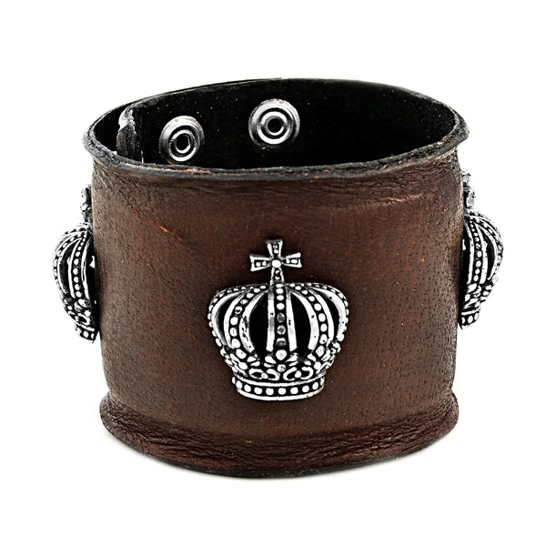 925 Sterling Silver Crown Cross in Genuine Brown Leather Men's Biker Bracelet 9""
