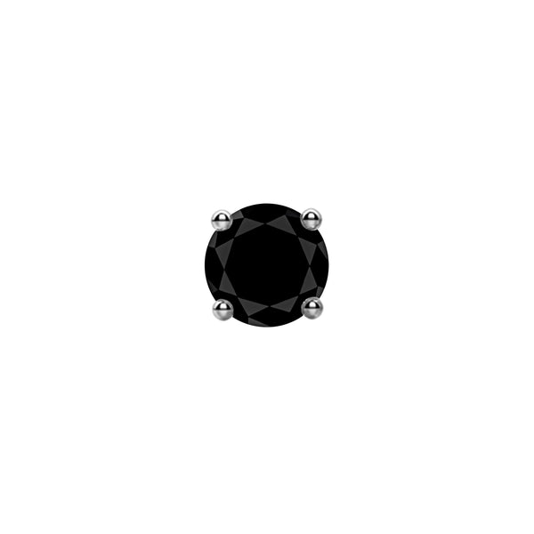 1.00tcw Round Black Diamonds in 14K White Gold Solitaire Stud Earrings