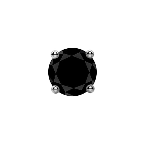 2.00tcw Round Black Diamonds in 14K White Gold Solitaire Stud Earrings