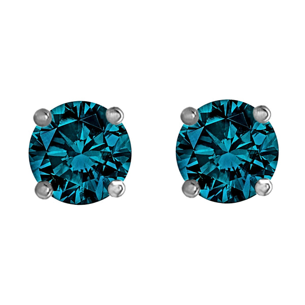 2.00tcw Round Blue Diamonds in 14K White Gold Solitaire Stud Earrings