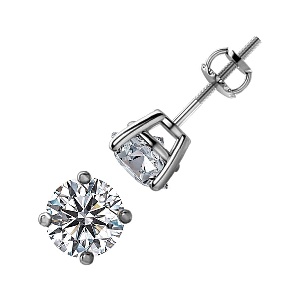 2.00tcw Round Diamonds in 14K White Gold Solitaire Stud Earrings