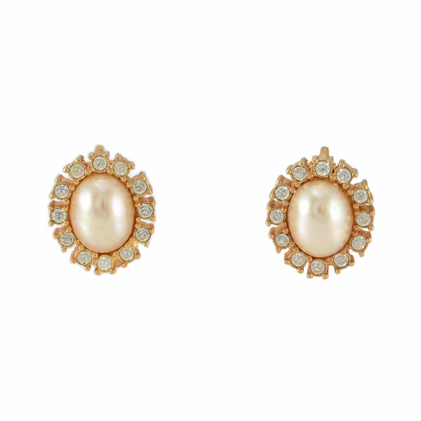1960s Vintage Christian Dior Faux Oval Mabe Pearl and Rhinestones Halo Clip Earrings