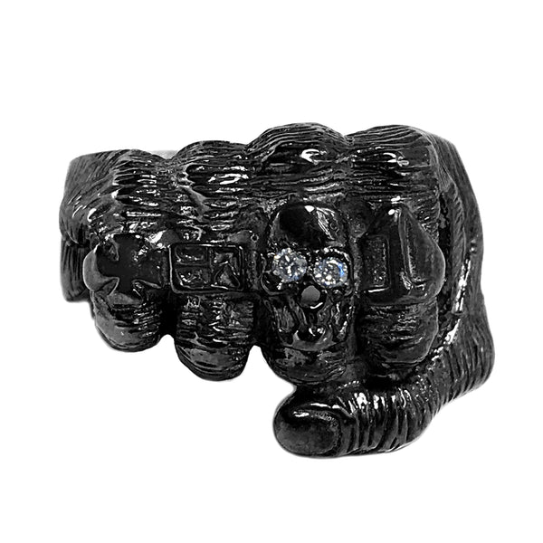 0.06ct Round Diamonds in 925 Black Rhodium Silver Fist Hand Skull Biker Ring