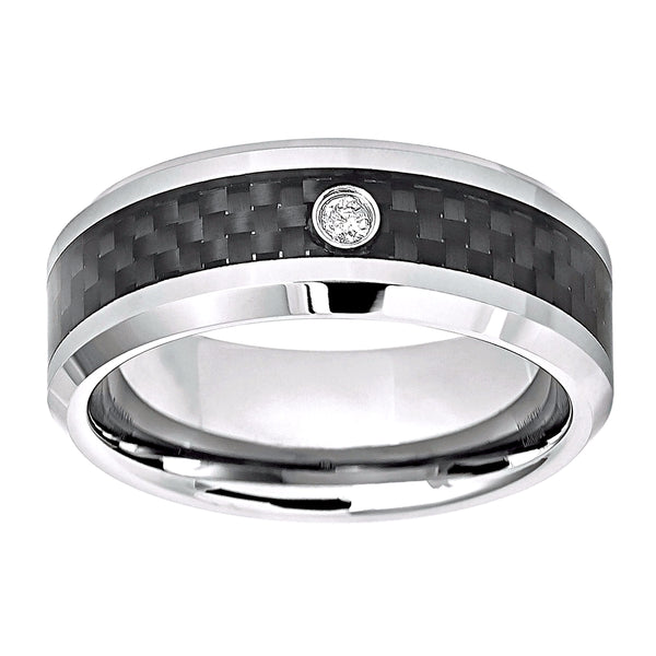 0.05ct Diamond in Carbon Fiber Inlay Tungsten Eternity Wedding Band
