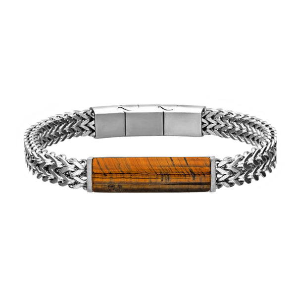 316L Stainless Steel Double Franco Chain with Tiger's Eye Stone ID Men's Bracelet 8.25""