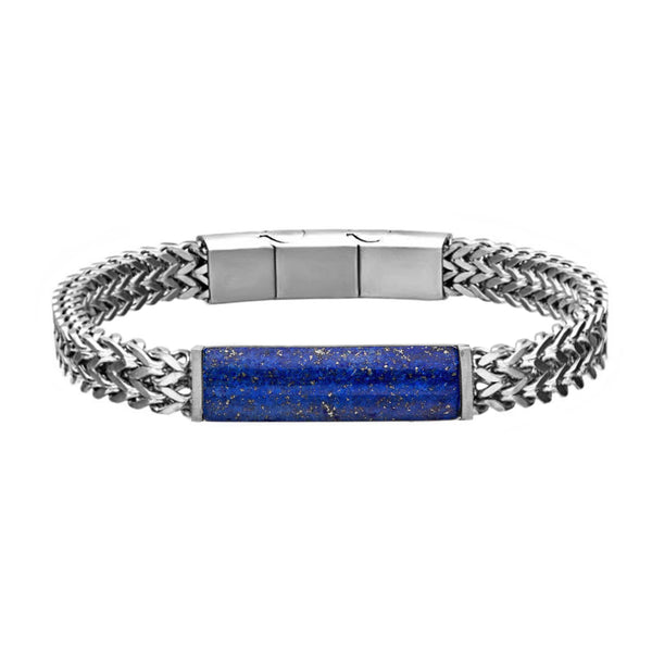 316L Stainless Steel Double Franco Chain with Lapis Stone ID Men's Bracelet 8.25""