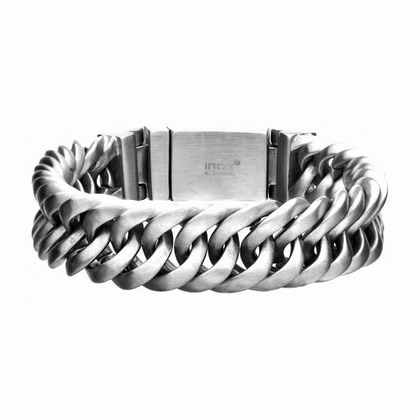 316L Stainless Steel Layered Matte Brushed Chain Link Men's Bracelet 8.5""