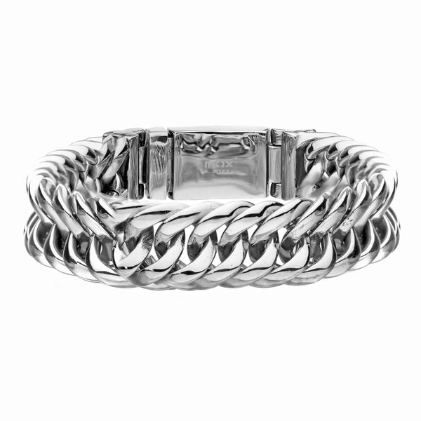 316L Stainless Steel Layered High Polished Chain Link Men's Bracelet 8.5""