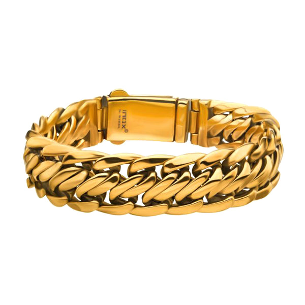 316L Gold IP Stainless Steel Double Helix Male Chain Bracelet 8.5""