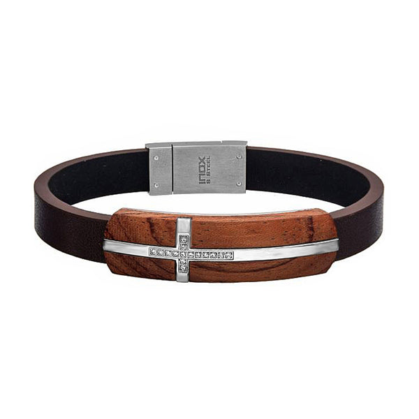 "0.075ct Diamonds 316L Stainless Steel Cross & Wood in Brown Leather ID Bracelet 8.5"" Adjustable"