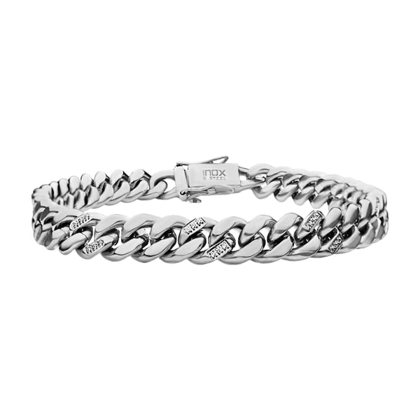 0.15ct Diamond 316L Stainless Steel Miami Cuban Chain Mens Bracelet