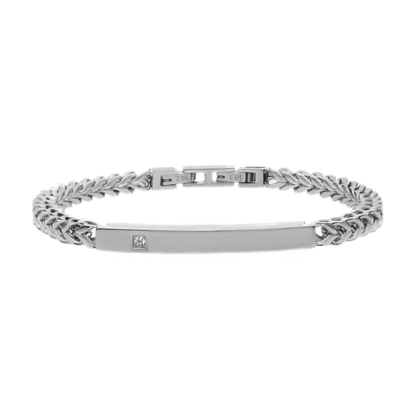 0.03ct Diamond 316L Stainless Steel Franco Chain Mens ID Bracelet