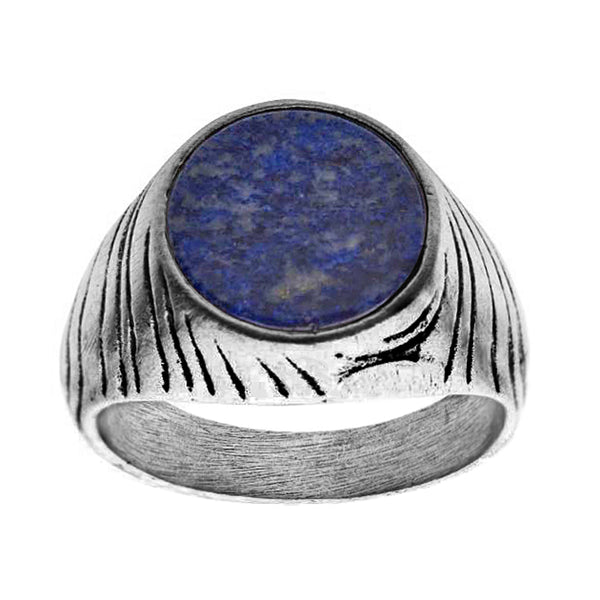 316L Stainless Steel Silver Plated with Lapis Stone Men's Signet Ring