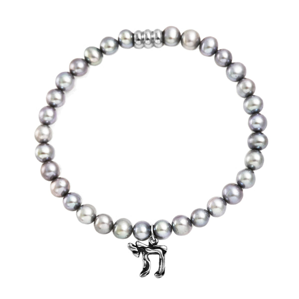 925 Italy Silver Jewish Chai Charm in Fresh Water Gray Pearl Spiritual Bead Bracelet